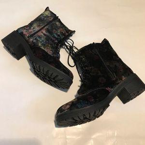 Madden girl velvet floral lace up boots